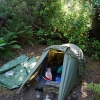 Camp at South Cape Rivulet on the very last day of eighteen days out bush doing the Sout West Coast Track.