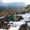 Camping in the winter on the Mt Clear Track below Mt Clear in Victoria. Once a four wheel track but now a foot track.