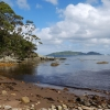 Rain, snow, gales and then this. Deadmans Bay on a sunny afternoon. I camped on the point to the left of this photo.
