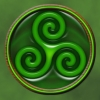The triskelion symbol - this time as jade.