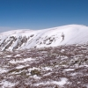 Mt Bogong in the snow. If you look really closely you can see the tiny dot that is the cairn on the summit.