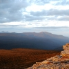 Looking northwards from The Southern Ranges at sunset on the first night of my trip to South West Cape along the South Coast Track in Tasmania.